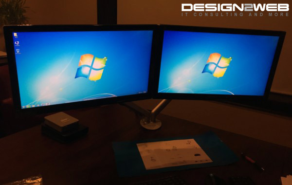 Lawyer Client Dual ViewSonic LED Screens Custom Mount Stand Windows 7