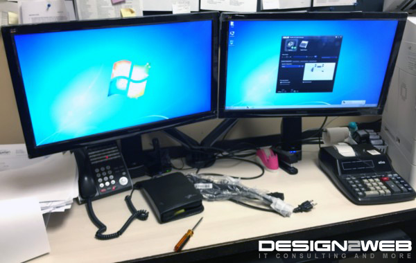 Lawyer Client Dual ViewSonic LED Screens Custom Mount Stand