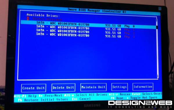 3ware 9750-4i RAID 5 BIOS Configuration Screen
