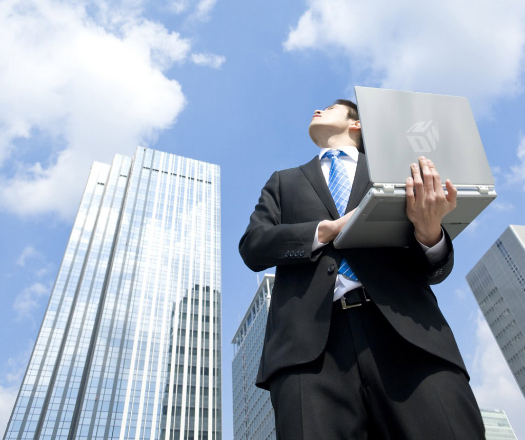 Cloud Computing Header Image, Man, Laptop, Sky, Buildings