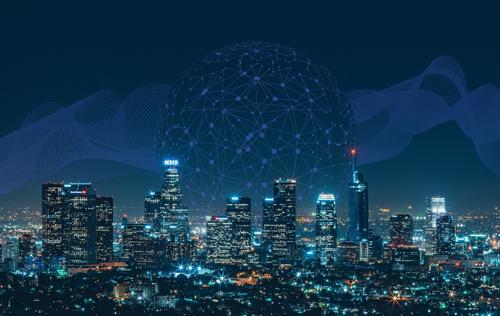 Illuminated City At Night, Increasing Internet Traffic Due To Coronavirus