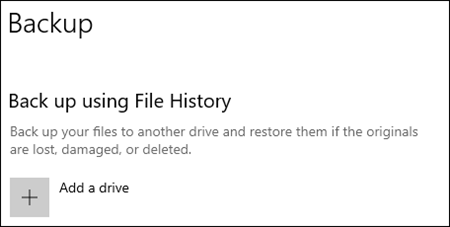 """Screenshot of Microsoft that says """"Back up using File History"""" and """"Add a drive"""" beneath."""