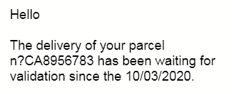 An email claims that a parcel has been delivered, a common email scam.