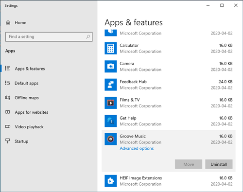 Screenshot of Apps & Features demonstrating the Uninstall tool. Uninstalling unnecessary programs can speed up your computer.