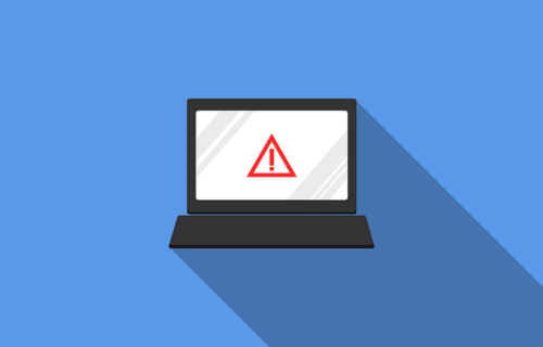 Vectorized laptop with danger symbol on blue background. There are ways to tell if your computer has a virus.