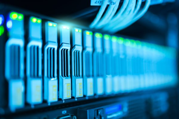 Row of servers. Cloud computing provides numerous benefits.