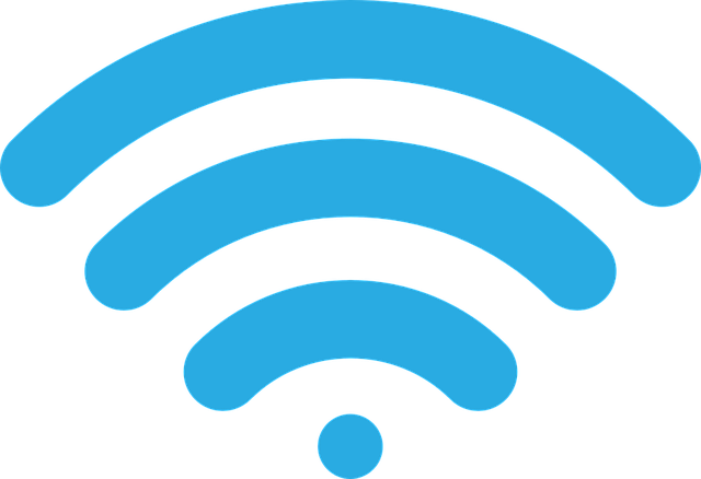 Blue Wi-Fi connection signal.