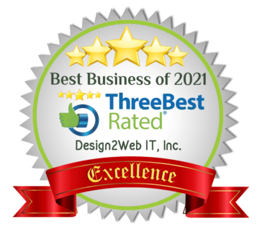 Three Best Rated badge of excellence demonstrating Design2Web is amongst the best Managed IT Services Providers in Abbotsford